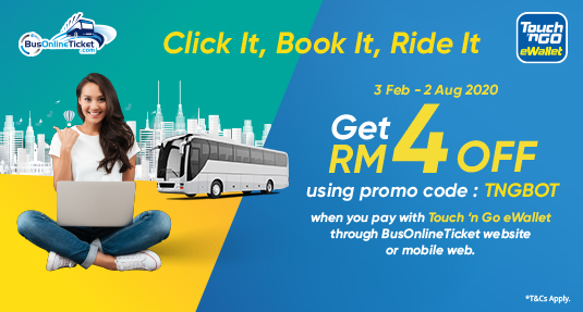Pay via Touch n' Go eWallet to Enjoy up to RM4 OFF on Bus Ticket Booking