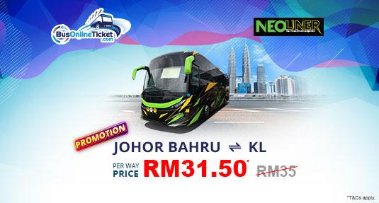 Neoliner Express PROMO RM31.50 between Kuala Lumpur and Johor Bahru