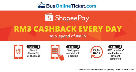 Get up to RM3 Cashback when you pay via ShopeePay
