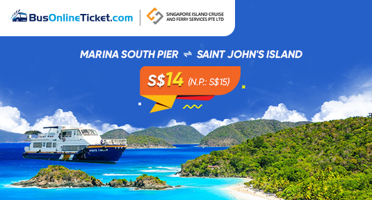 Get 2-Way Tickets Only from S$14/pax for Ferry from Marina South Pier to St John Island with Singapore Island Cruise
