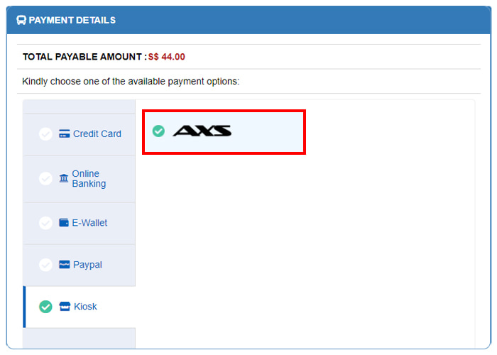 Choose AXS as payment option