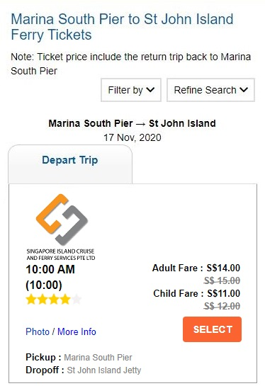 Select ferry trip and reserve seat