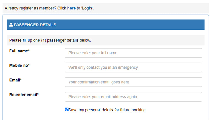 Fill in passenger details